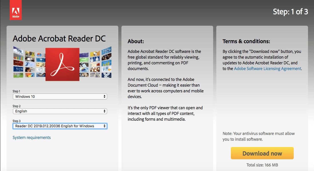 Adobe Acrobat Reader DC download page