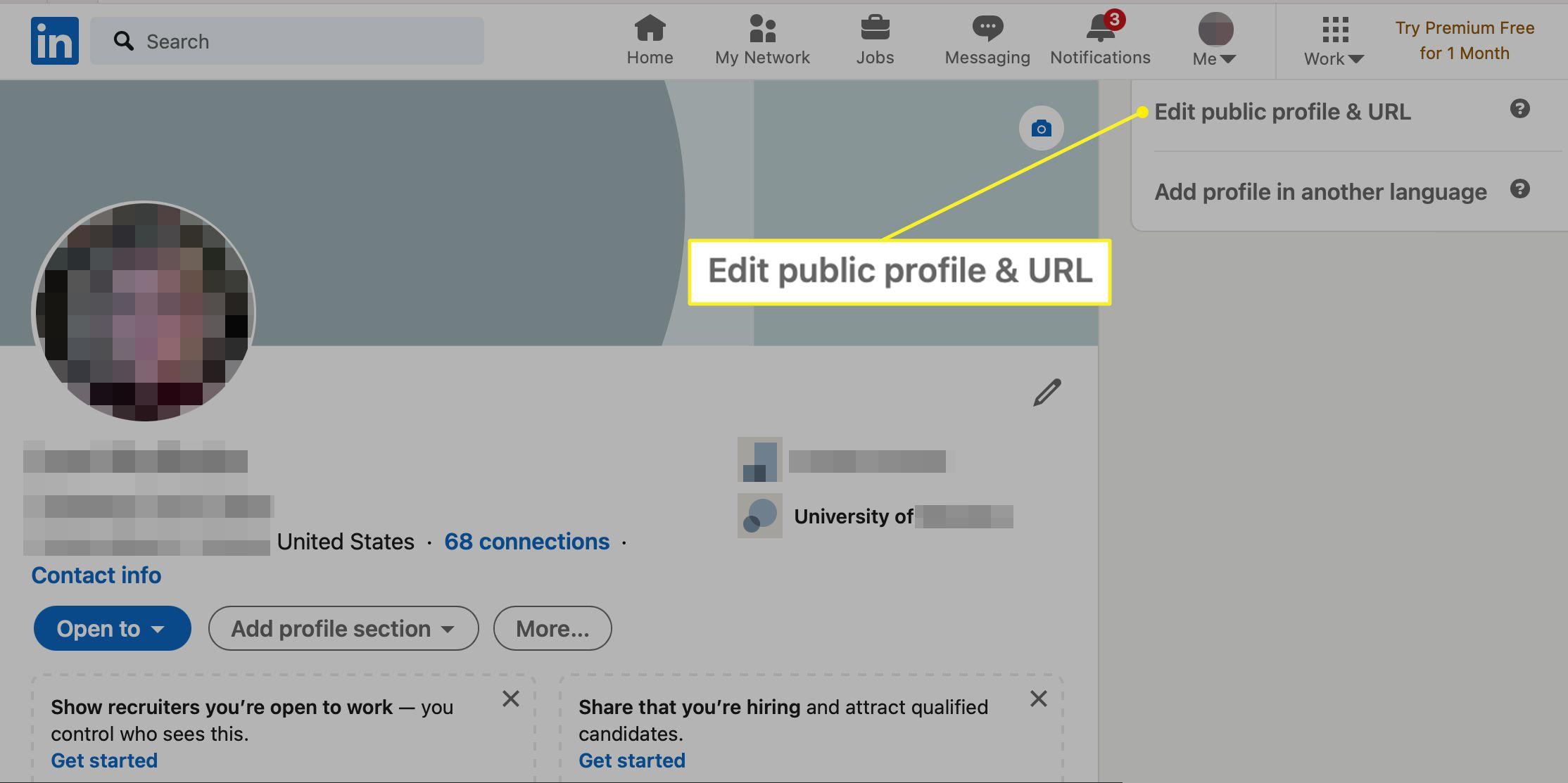 Edit public profile & URL selected in LinkedIn