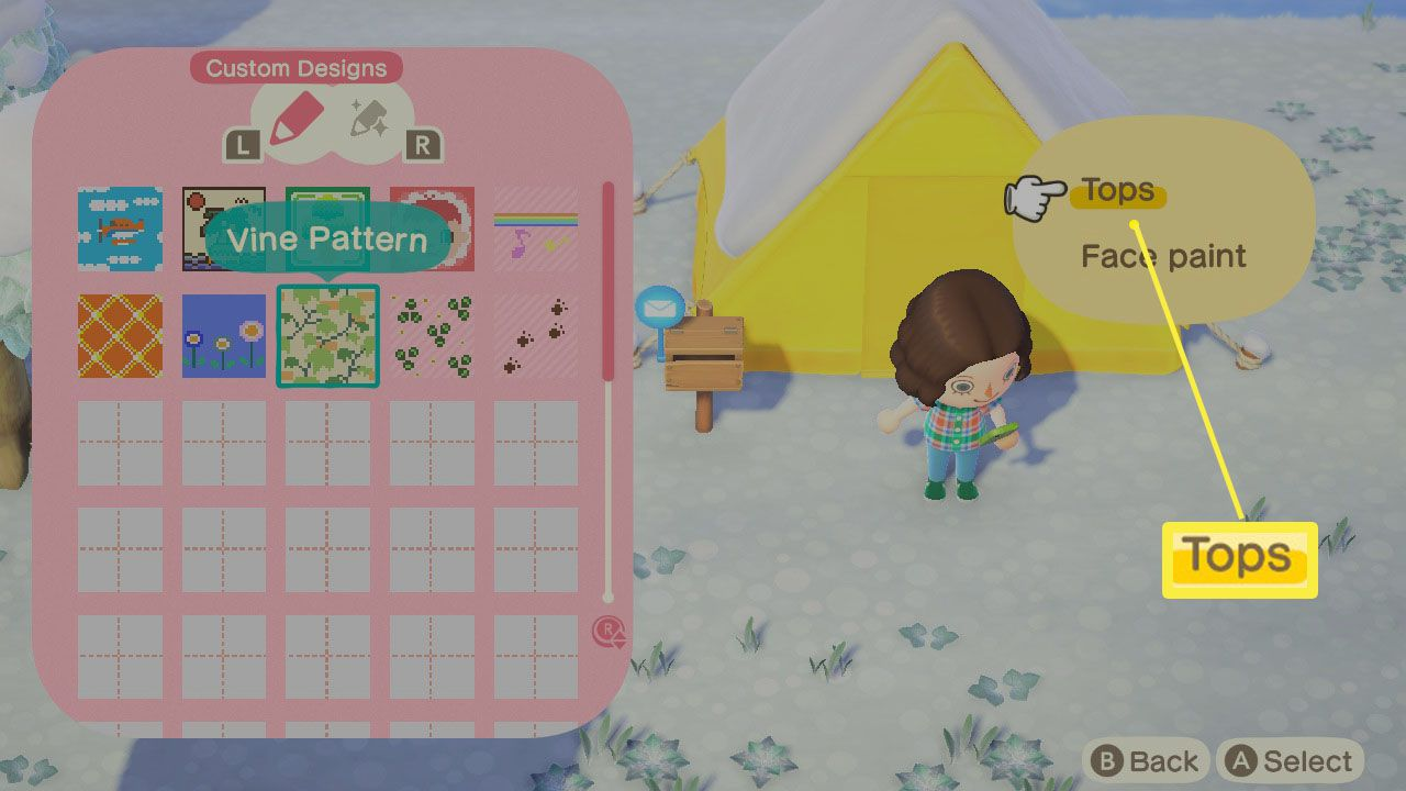 Animal Crossing: New Horizons with custom design open and a choice of wearing one as a top or face paint