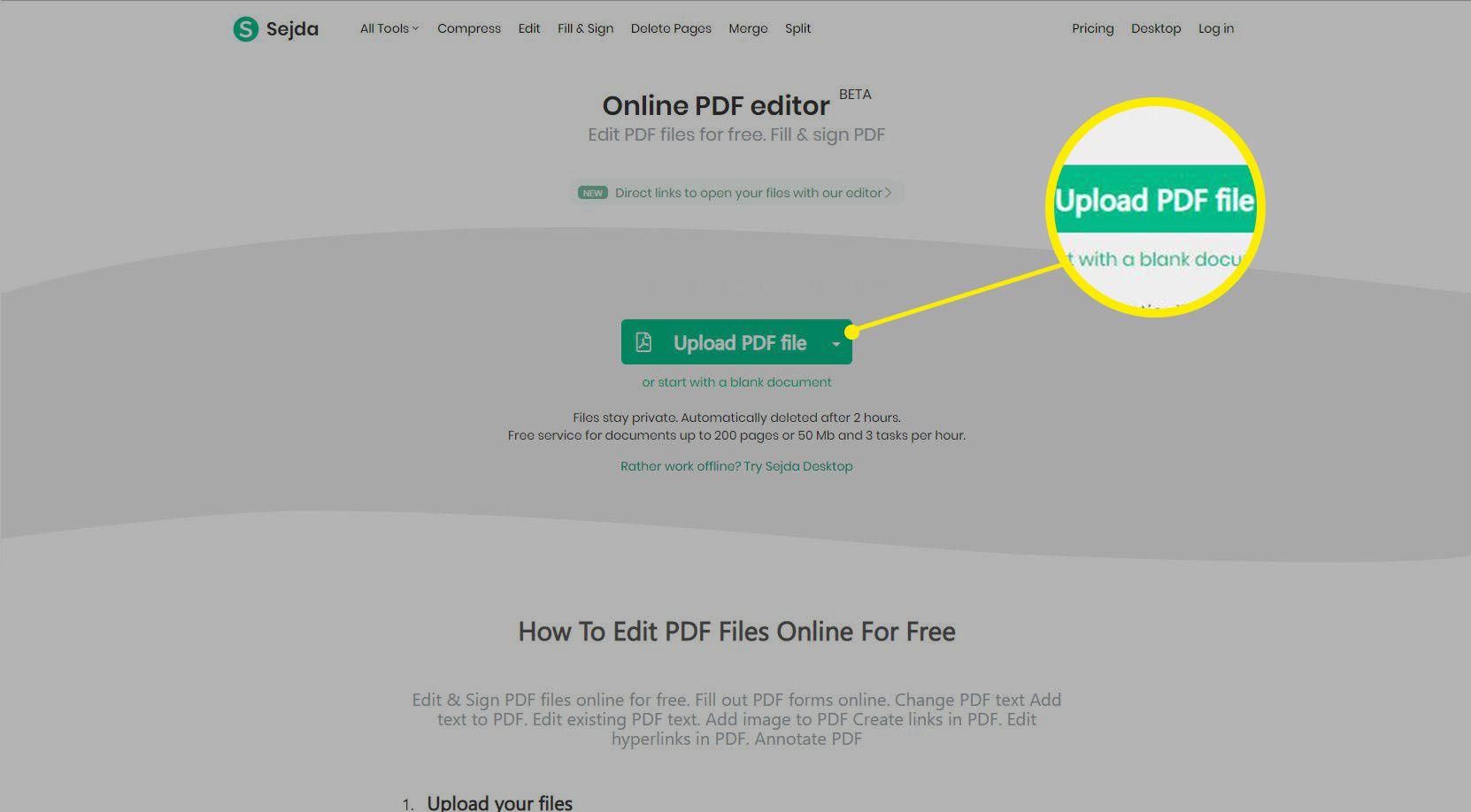 Home page for Sejda online PDF editor