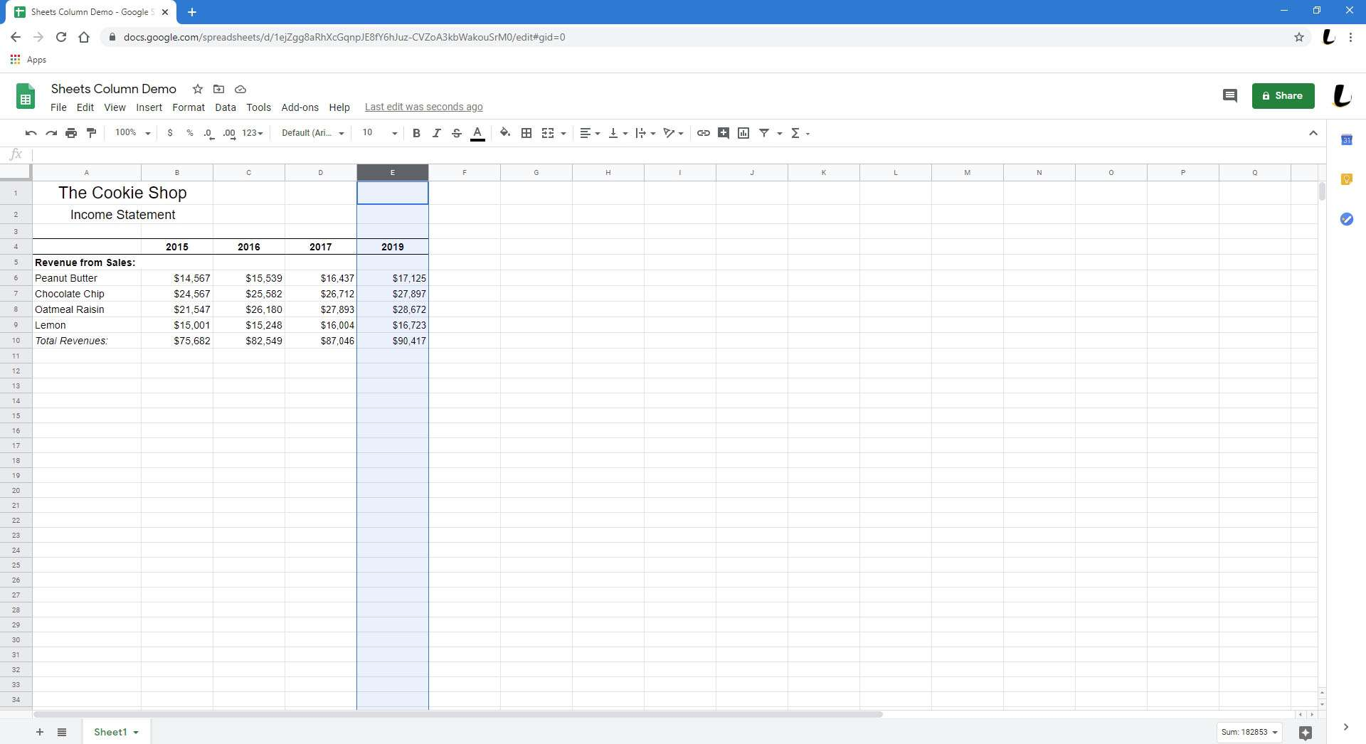 A spreadsheet with a newly deleted column.
