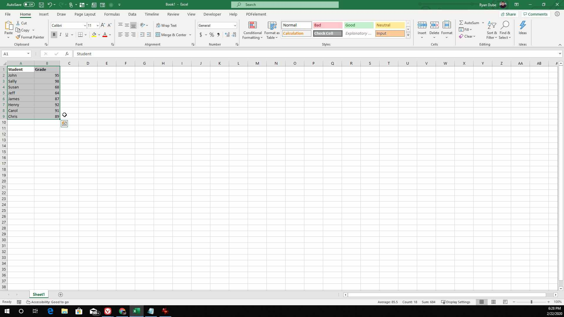 Screenshot of highlighting cells in Excel