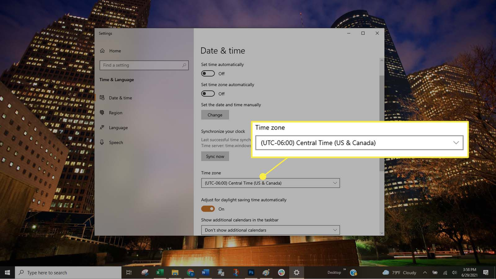 Selecting a time zone in the Time Zone drop-down list.