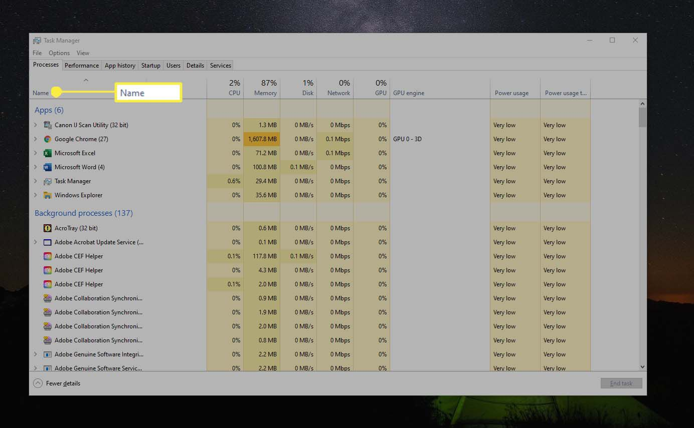 Windows 10 Task Manager,