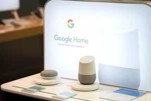 A closeup of a Google Home smart device in a retail store.