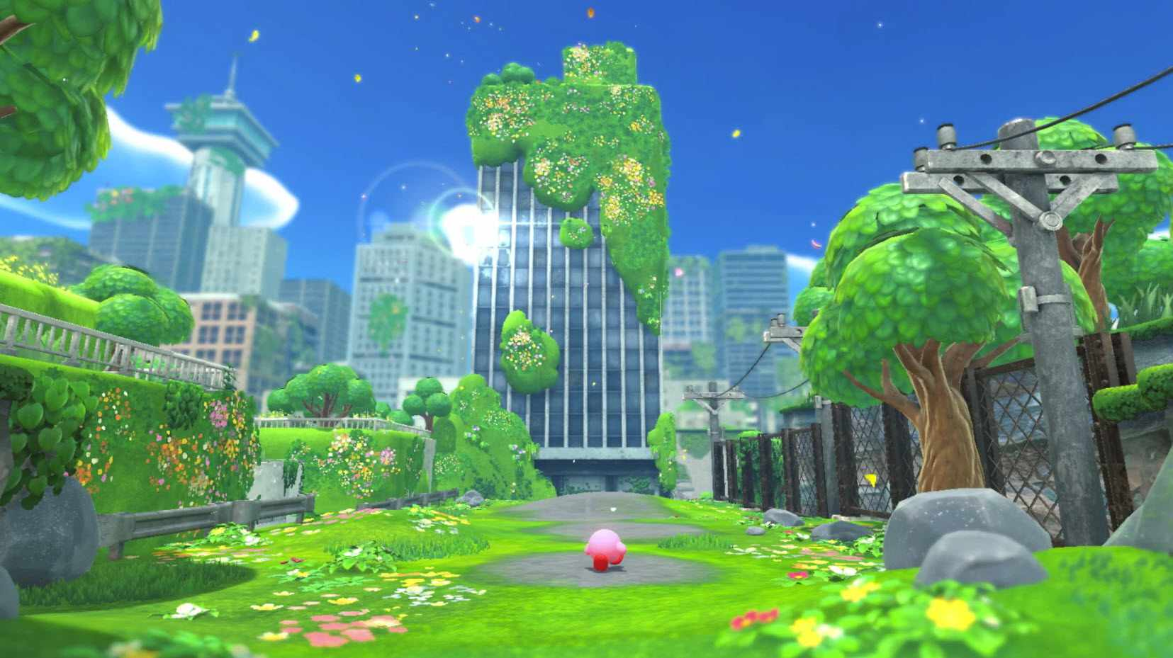 A screenshot from the 'Kirby and the Forgotten Land' game.