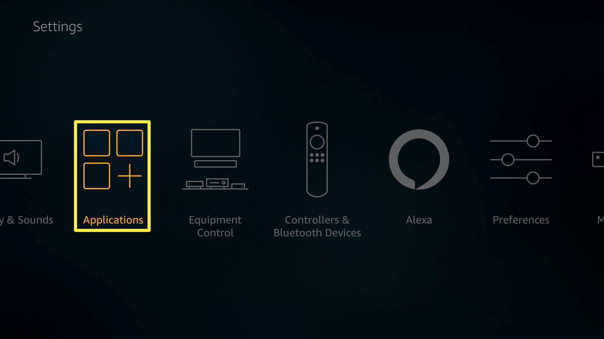 The Applications option on Amazon FireStick.