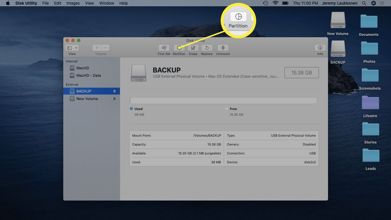 A screenshot of Disk Utility on macOS.