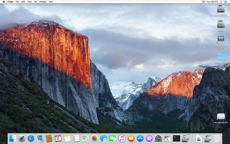 The Dock as shown in OS X El Capitan