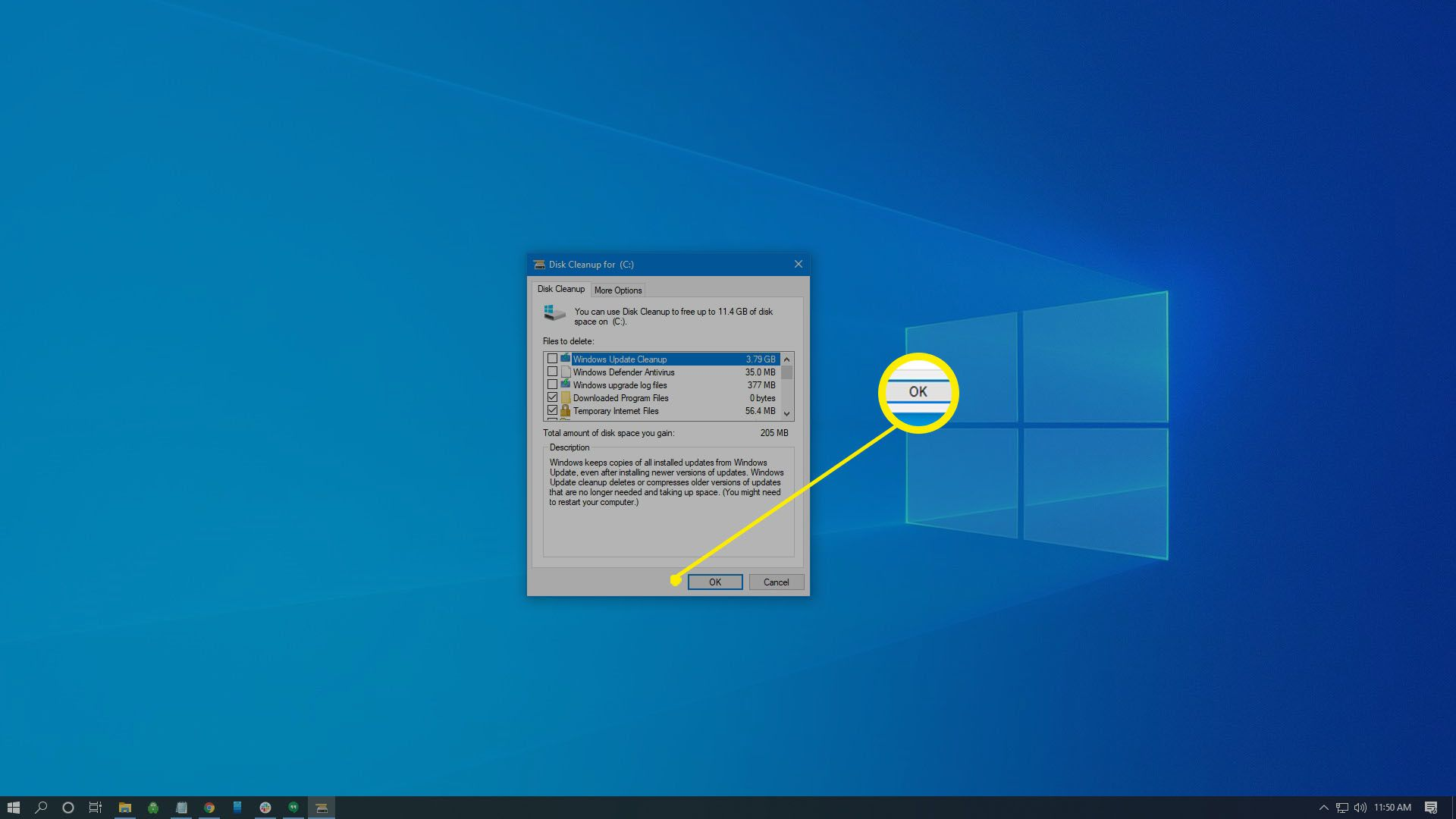 Once Disk Cleanup loads again, select the files you'd like to remove, then select OK.