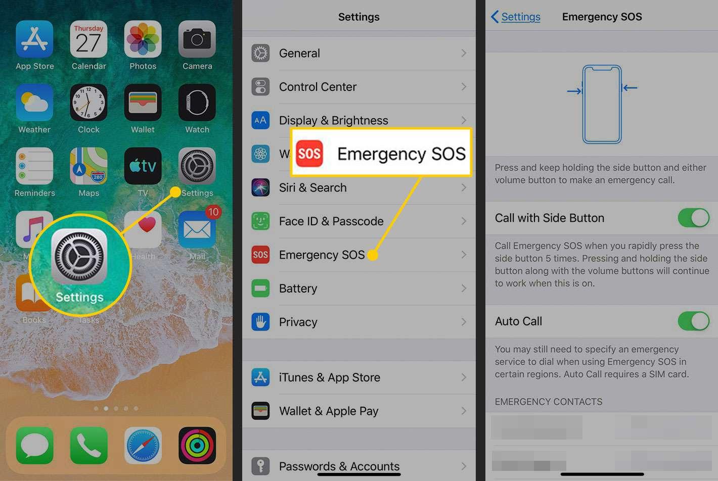 Emergency SOS settings in iOS