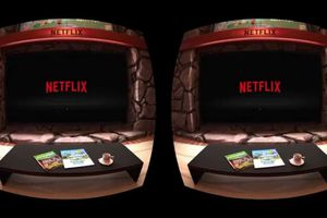 A coffee table sits in front of a screen that says Netflix.