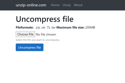 Screenshot of the unzip online uncompress file page