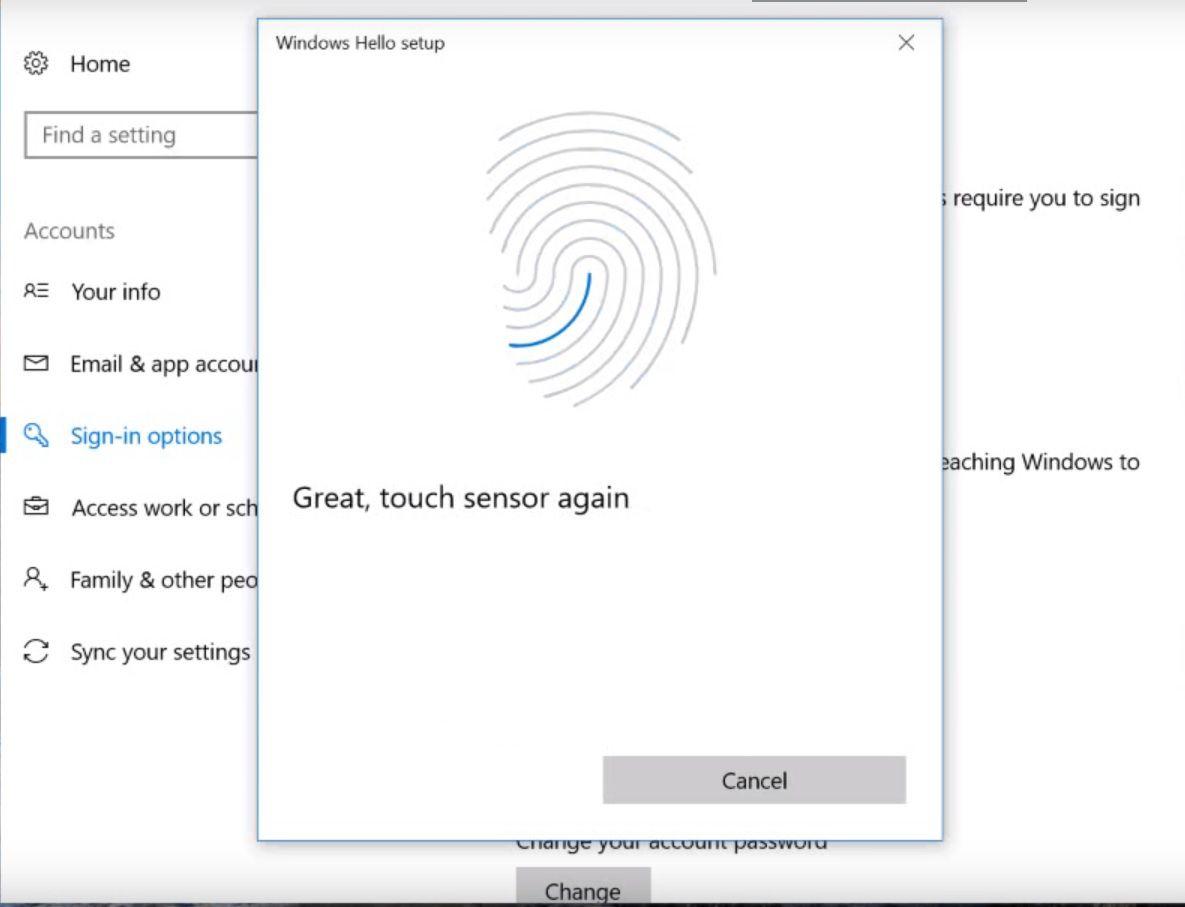 Screenshot of Hello Fingerprint setup