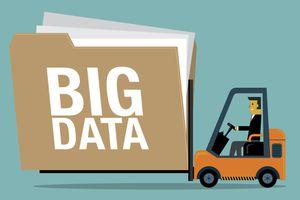 Cartoon forklift carrying file folder labelled