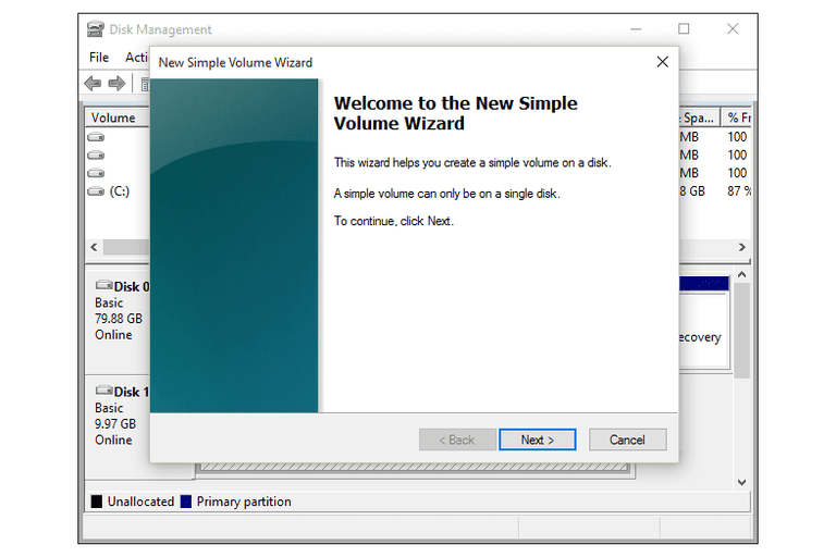 New Simple Volume Wizard in Windows 10