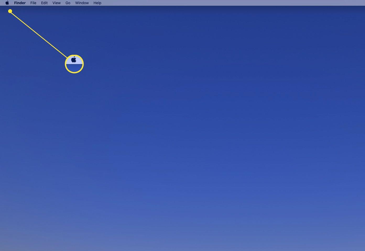 Mac desktop with the Apple menu highlighted