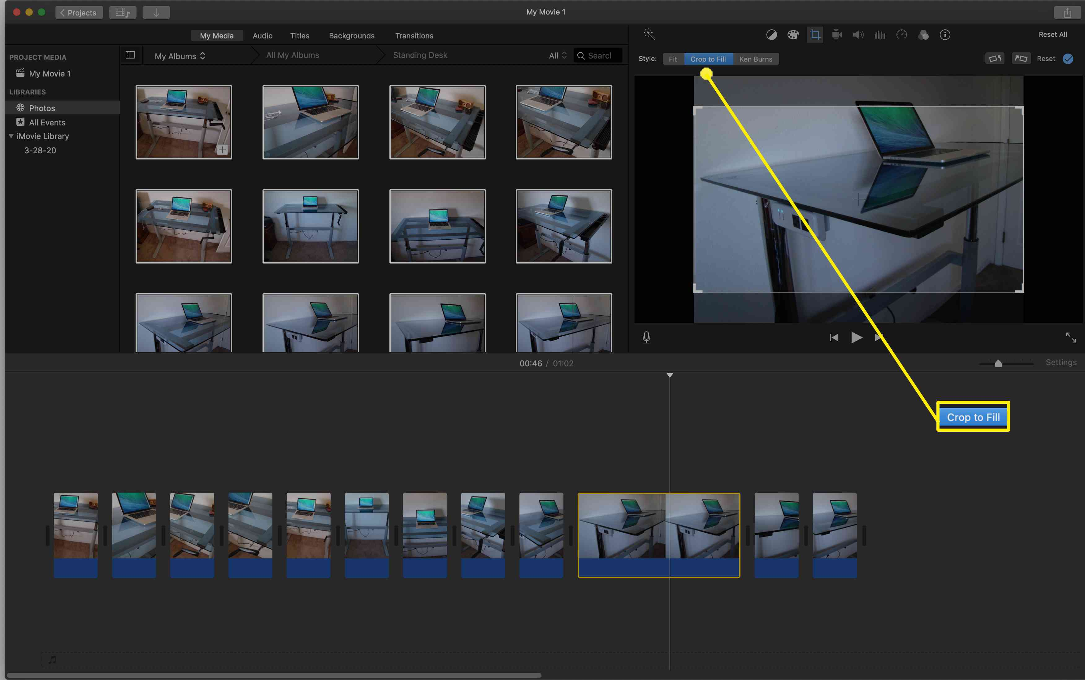 If you want a photo to fill up the full screen in iMovie or if you want to focus on a specific part of the picture, use the Crop to Fit setting.