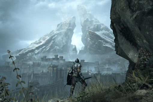 They player looking at a pair of mountains in the distance