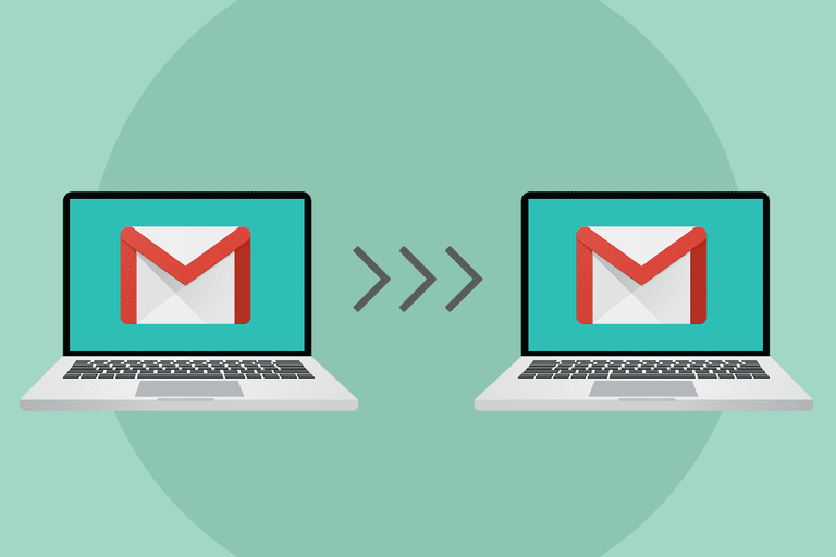 Illustration of two laptops with Gmail logo on their screens, with a tripple arrow showing movement from the left laptop to the right.