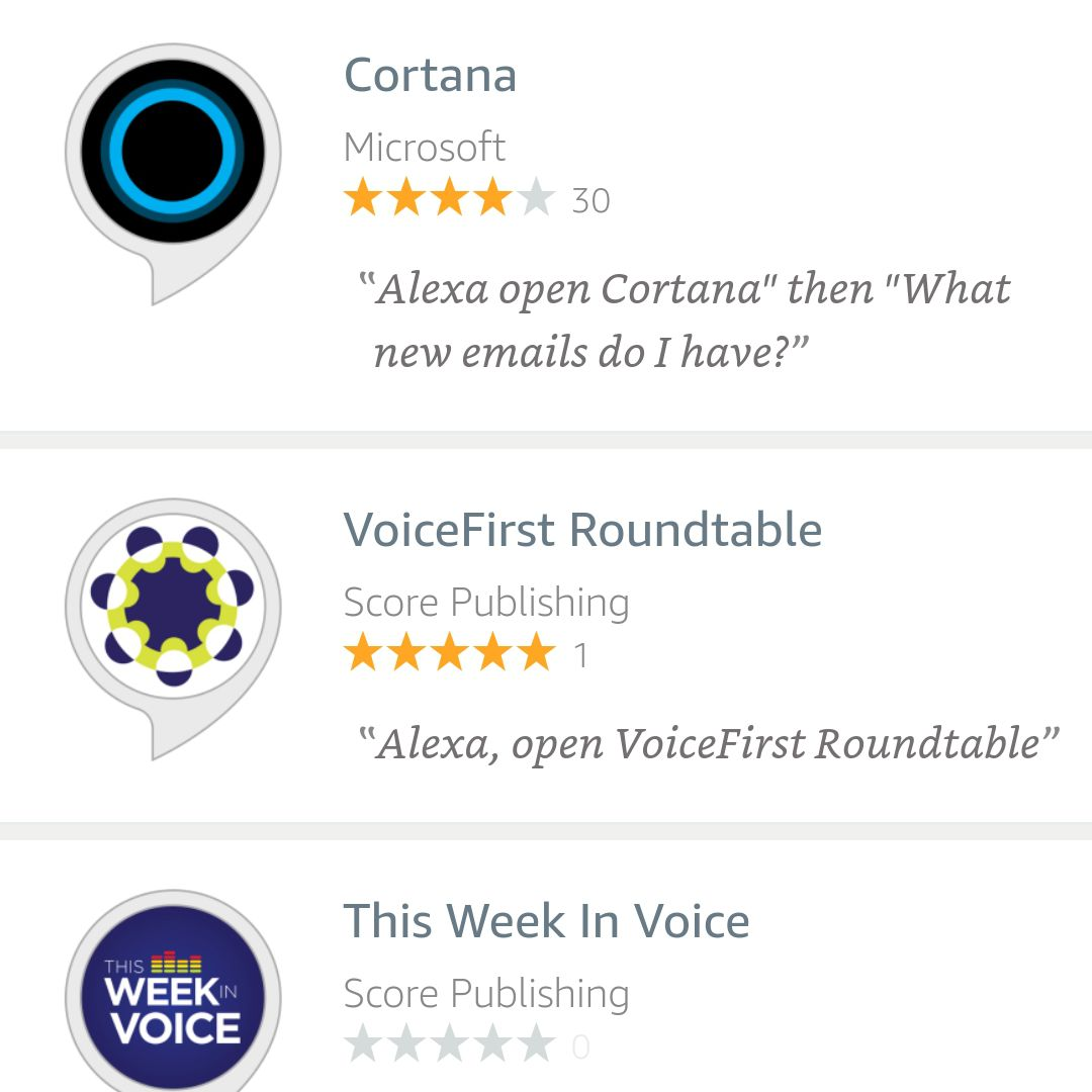 Screenshot of Cortana found in Alexa Android app search results.