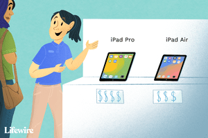 Customer asking salesperson about iPad Pro and iPad Air