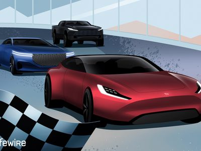 Illustration of gas vs EV cars in a race with the EV winning.