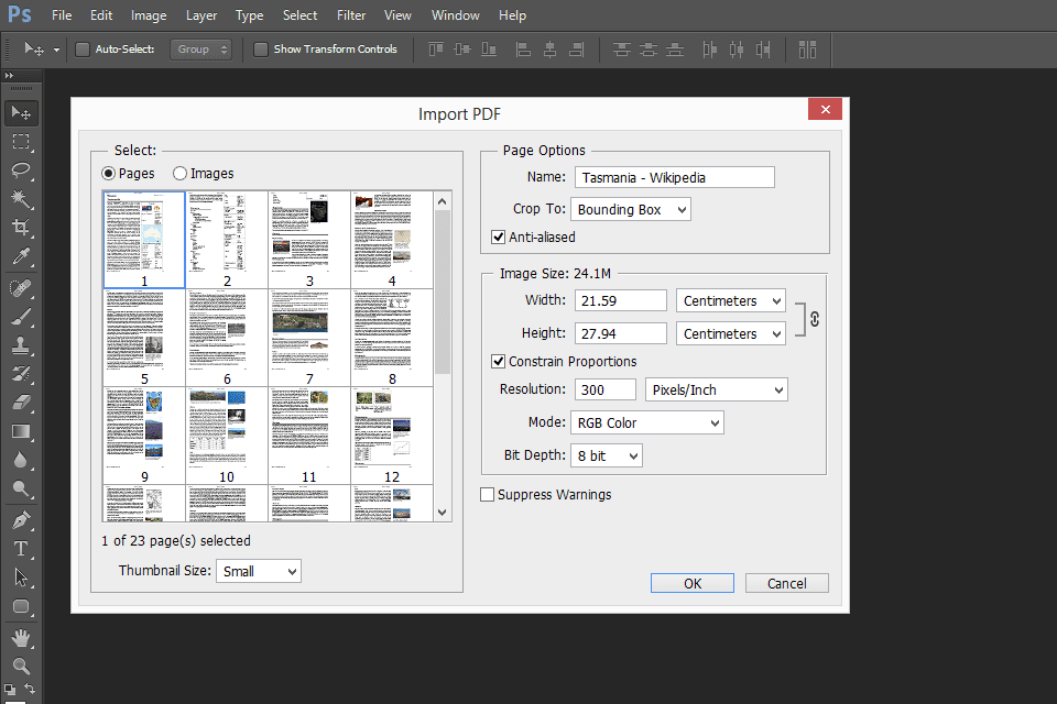 Photoshop converting a PDF to JPG