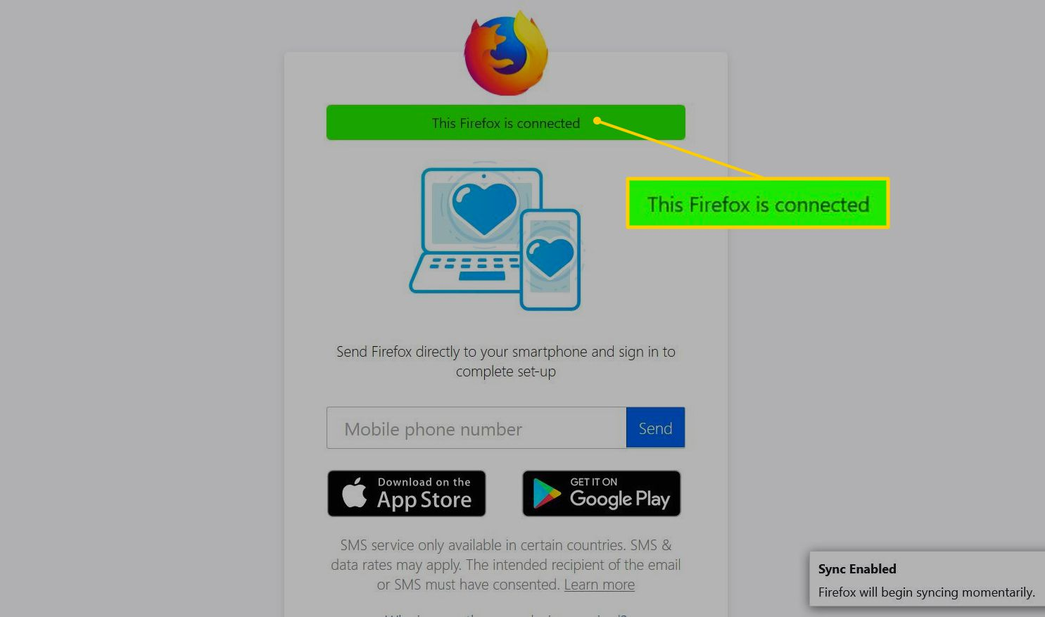 This Firefox is connected - message on Firefox Sync website