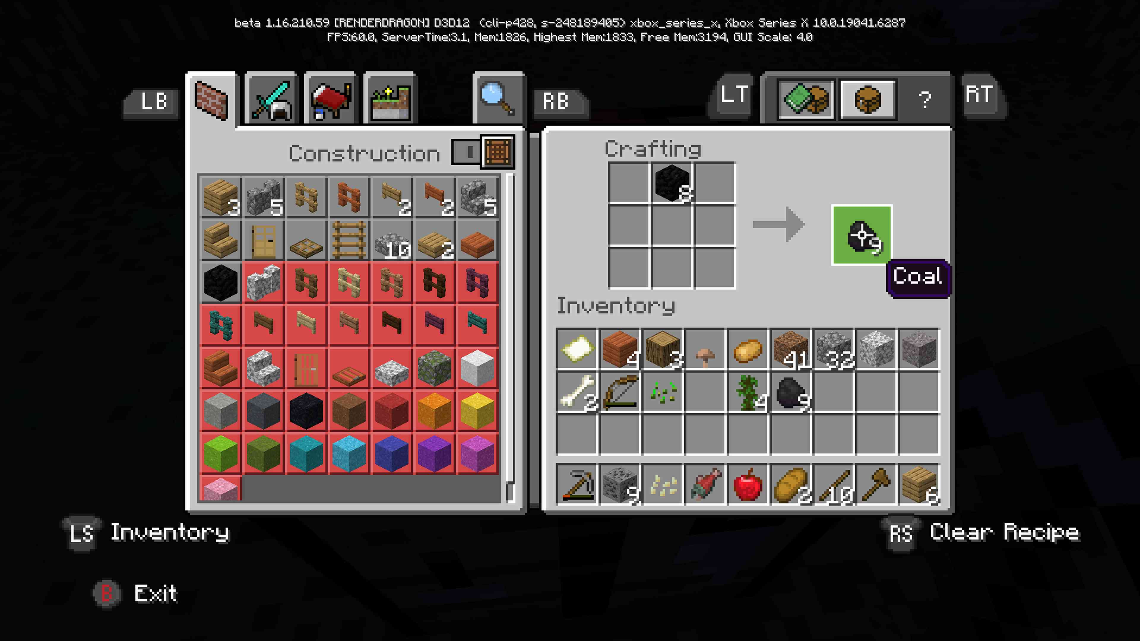 Crafting coal via the crafting grid in Minecraft