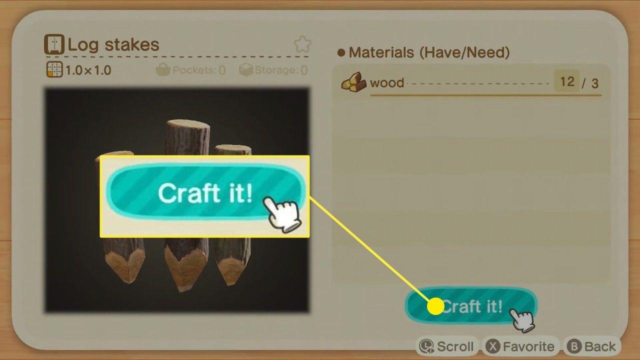 Animal Crossing: New Horizon log stakes