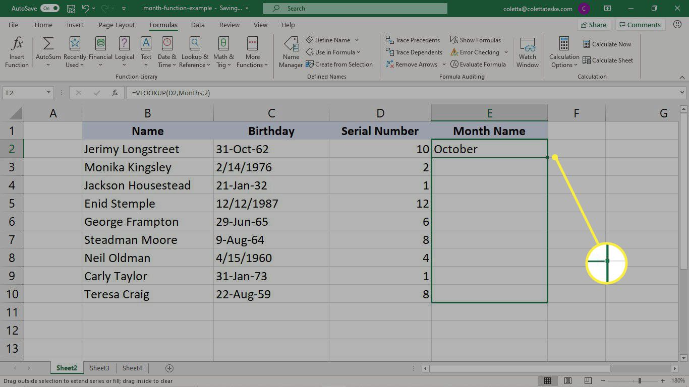 Filling the results of the VLOOKUP formula to a column