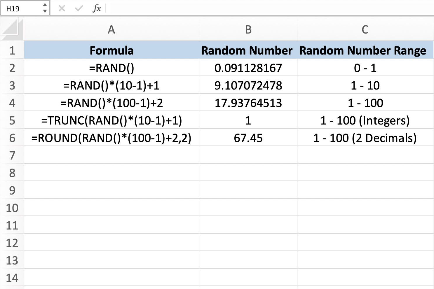 Generate Random Numbers With Excel's RAND Function