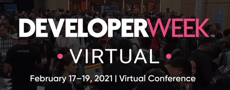 DeveloperWeek Virtual conference logo with people in background