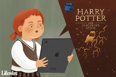 Child listening to Harry Potter on an iPad