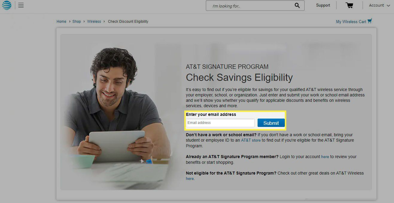 The savings eligibility page for active duty veterans with email address field highlighted.