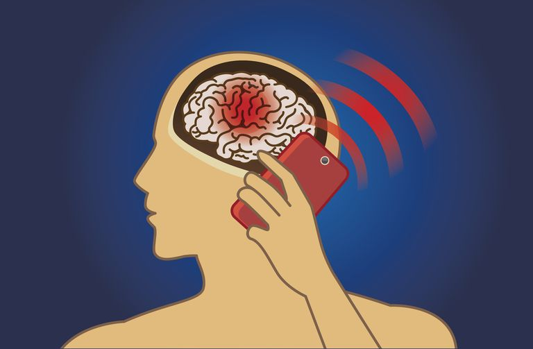 Illustration of person, showing their brain in red holding cell phone with radiation signal