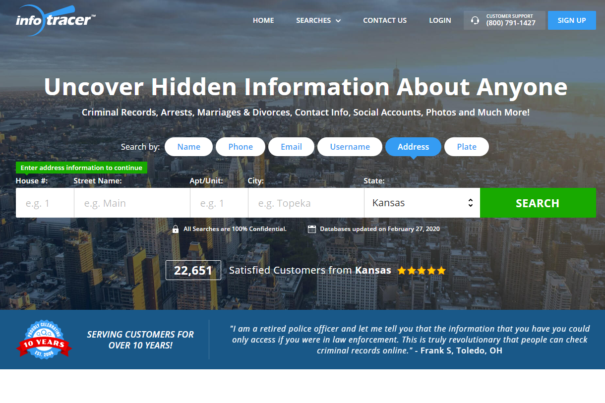 Infotracer.com reverse address lookup tool