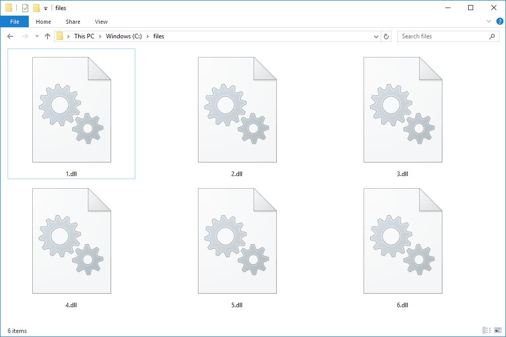 Screenshot of several DLL files in Windows 10