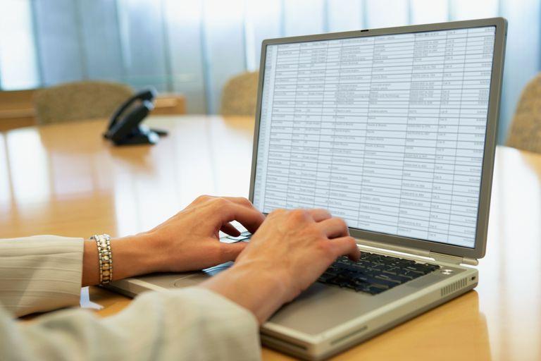 Businesswoman using laptop