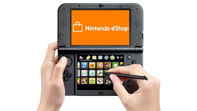 The Nintendo eShop on a 3DS XL handheld video game console.