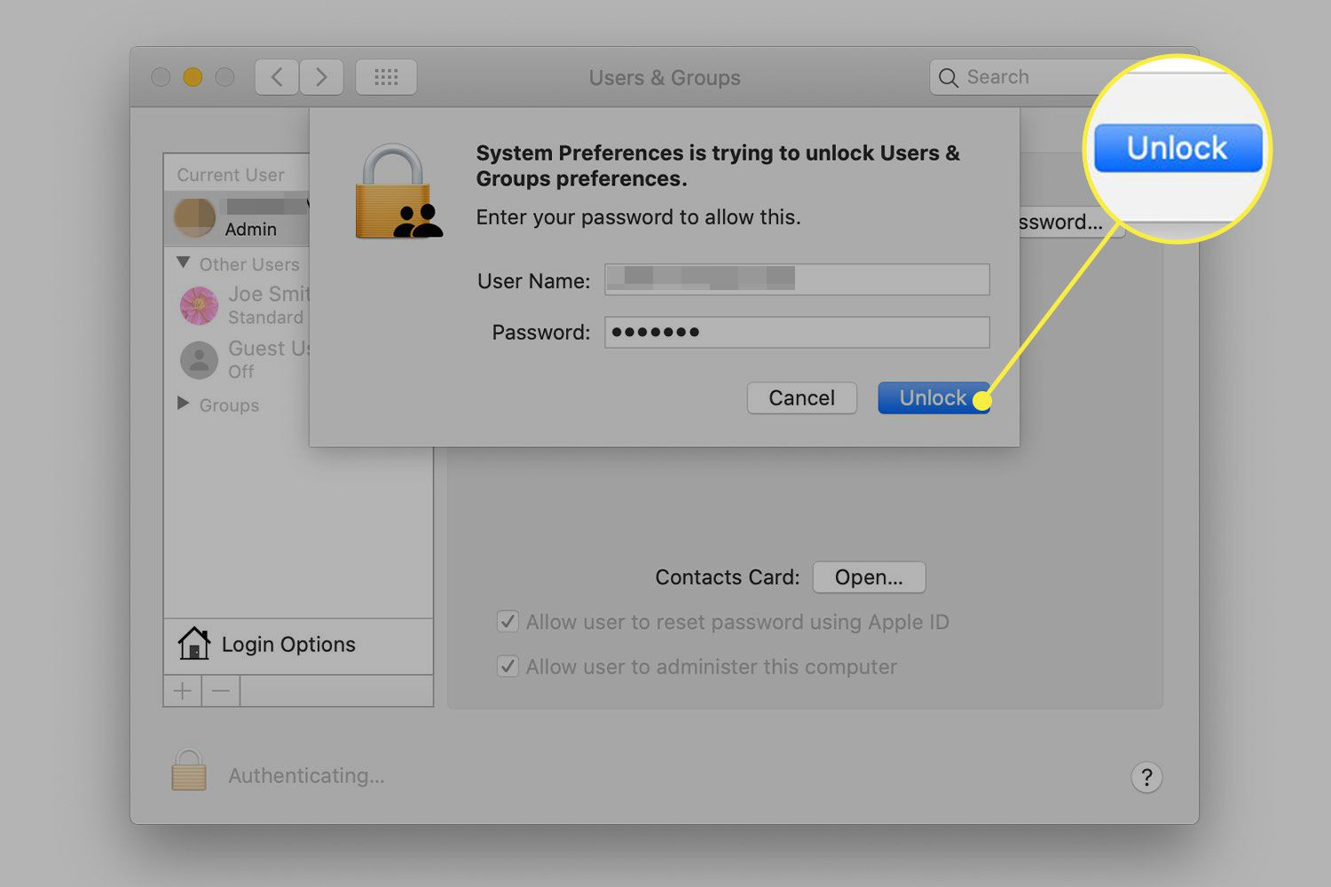 A screenshot of the Users & Groups preferences in macOS with the authentication Unlock button highlighted