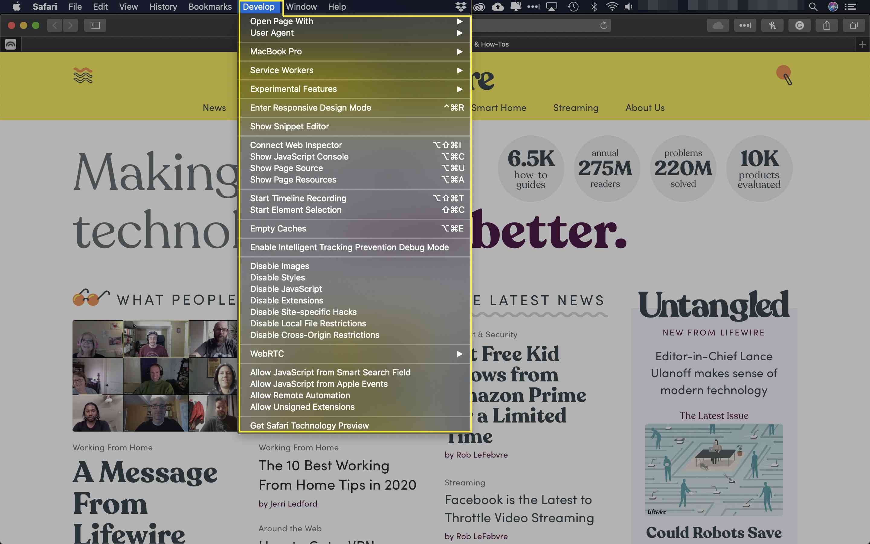 A screenshot of Safari with the Develop menu highlighted