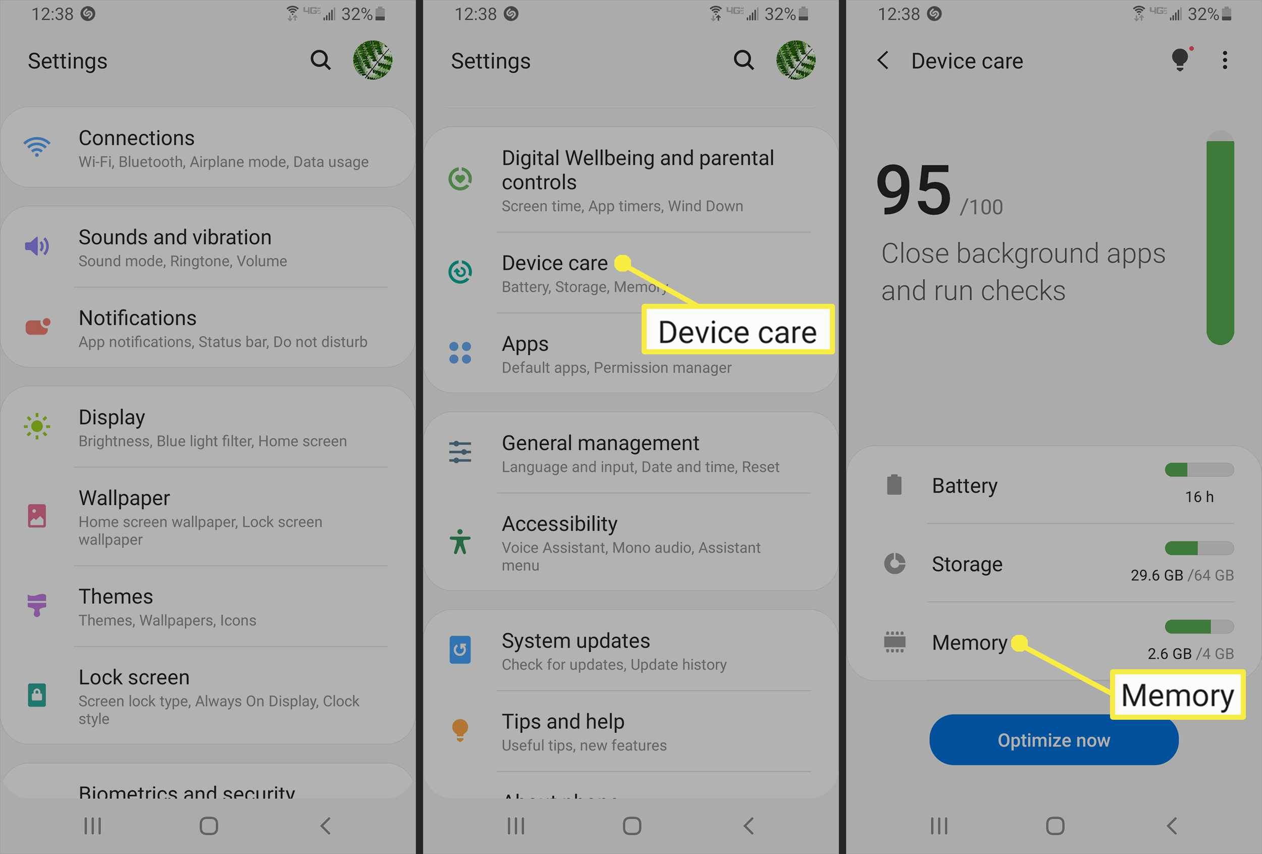 Samsung S9 Device Care settings.