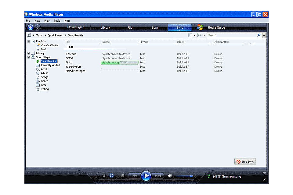 how to set up sync on windows media player