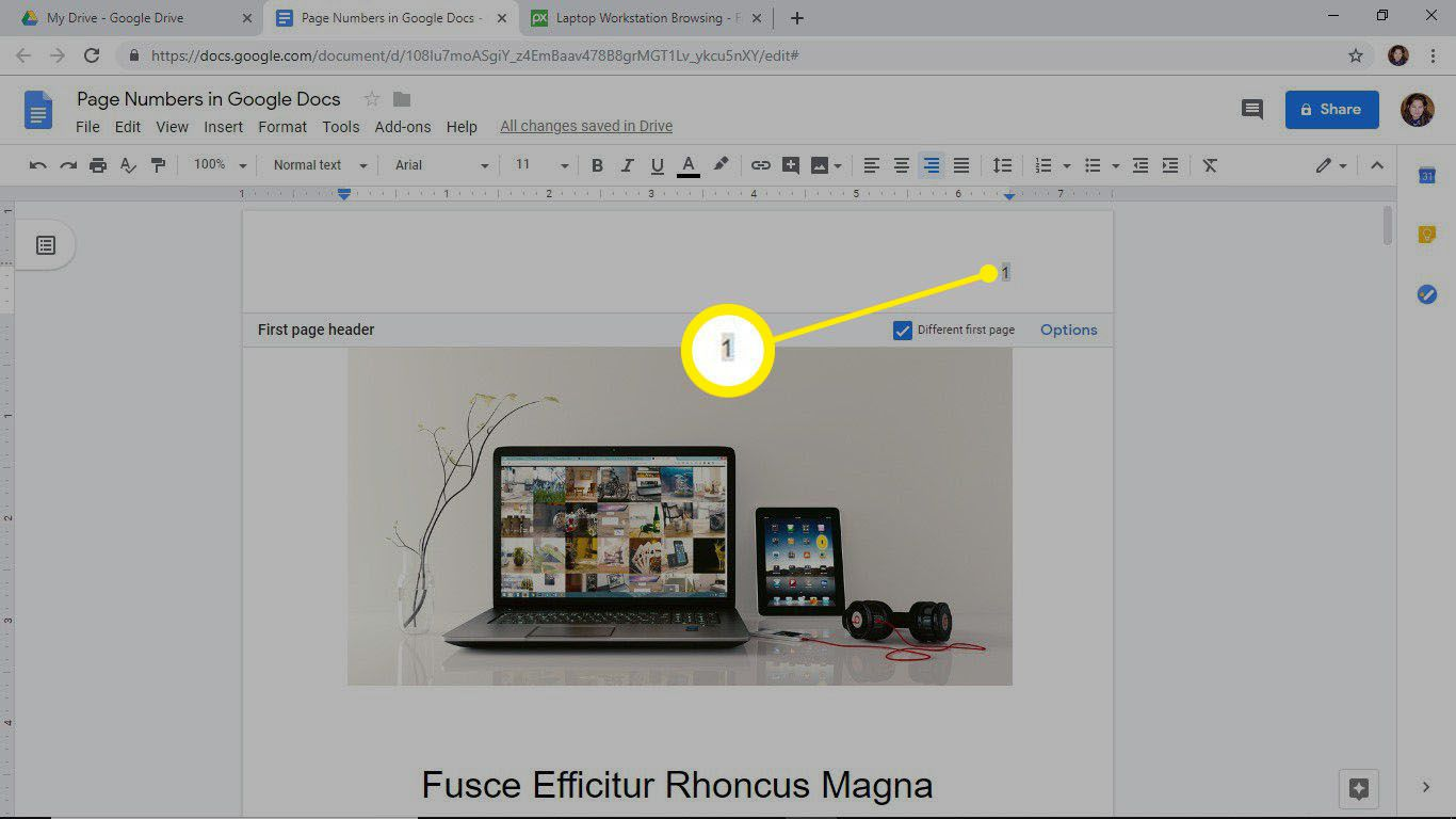 Page number added to the header of a Google Docs document