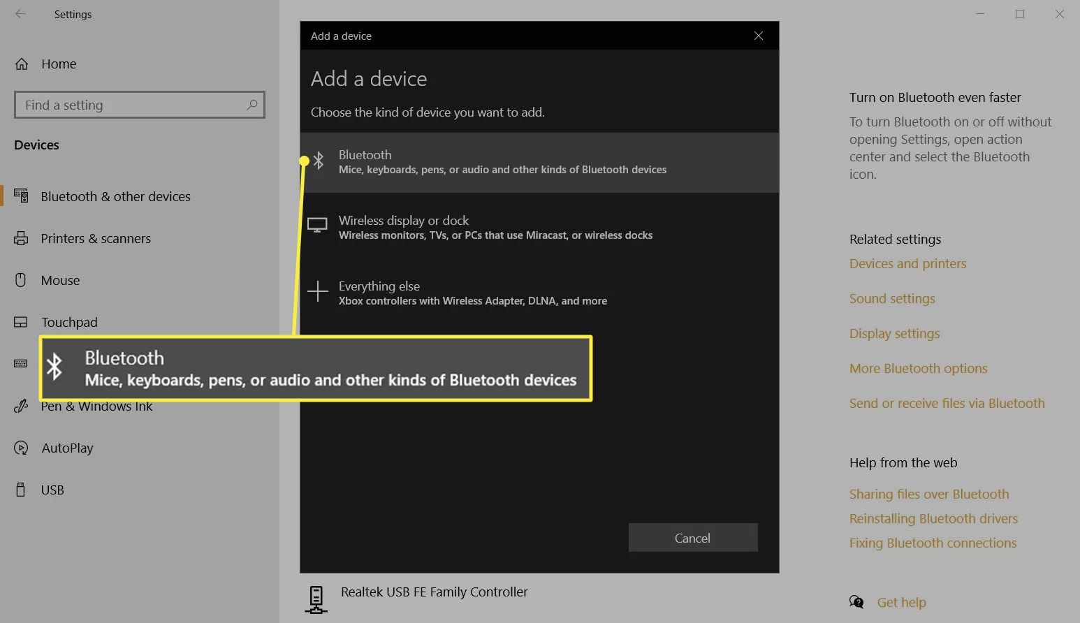 Add a device pop-up in Windows 10 Settings to connect Bluetooth mice