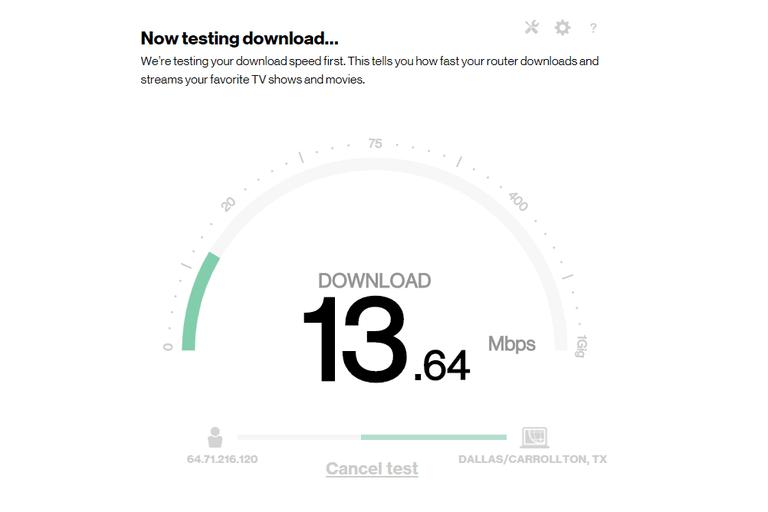 Screenshot of the Verizon internet speed test