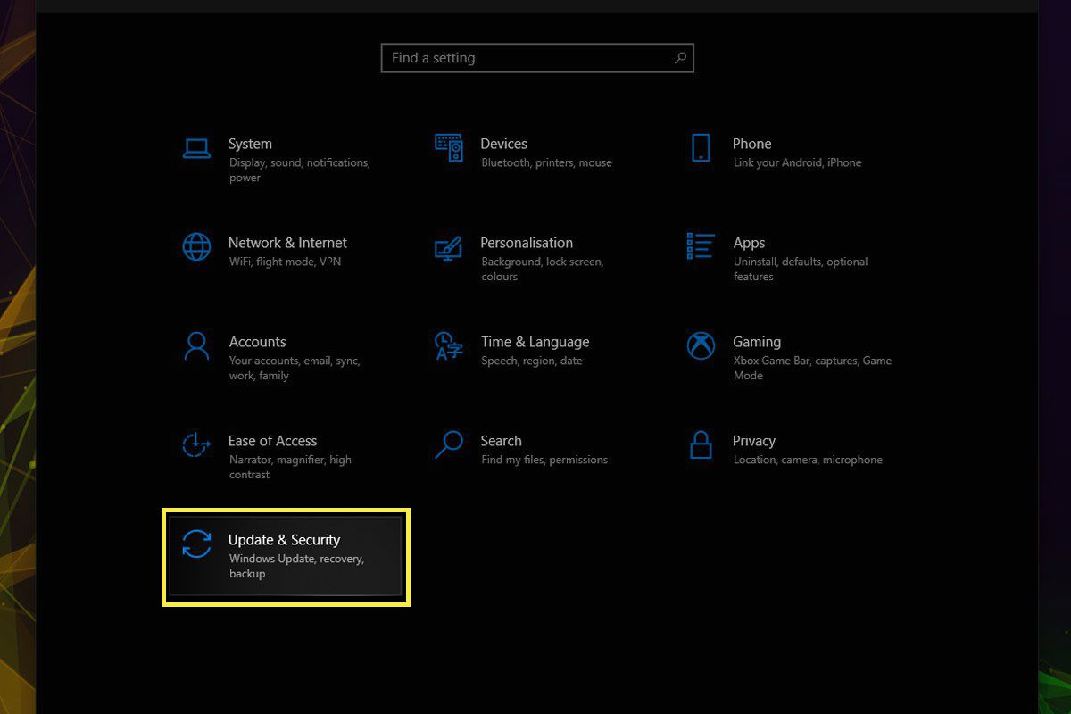 The Update & Security preference pane in Settings on Windows 10.