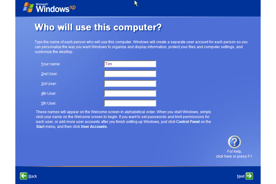 Screenshot of the Windows XP Setup Wizard initial user account setup screen